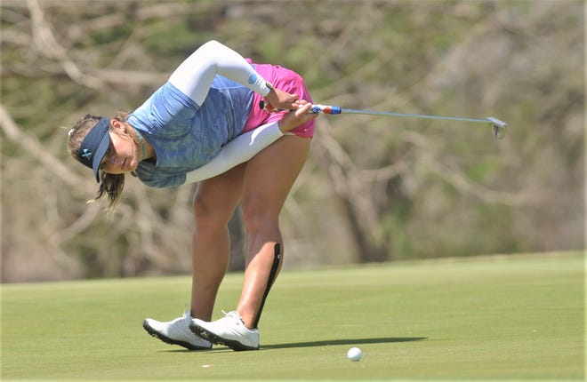 San Antonio's Sarah White reacts to a missed putt on No. 3 during the third round of the Mackie Construction Ladies Professional Championship on Thursday at the Abilene Country Club's South Course.