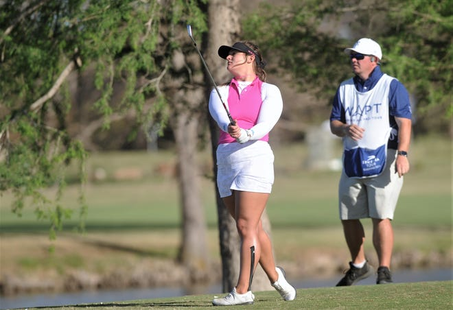 San Antonio's Sarah White watches her tee shot at No. 17 at the Abilene Country Club's South Course.