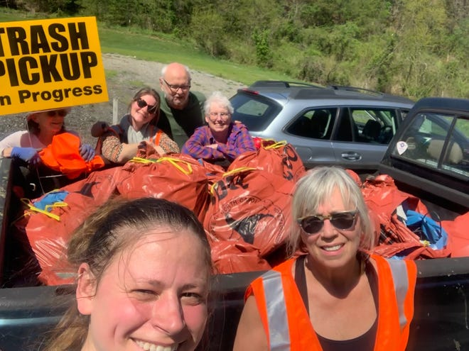 Pictured at right is Liz Gullum, founding member of Sustainable Madison, during the first Great Madison County Litter Sweep Contest in 2019.