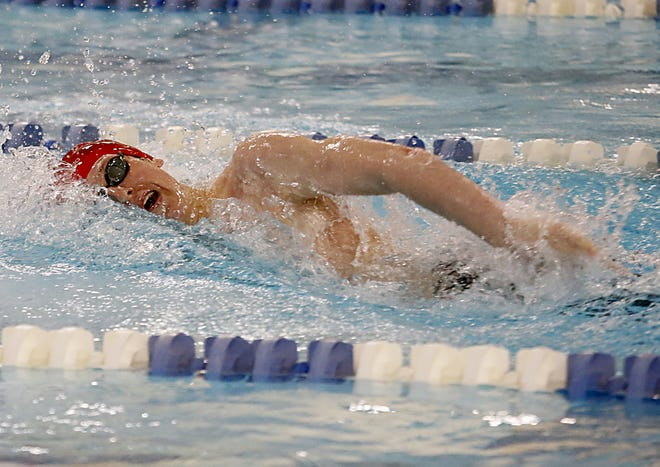 Eli Shoyat, from Beechwood High School, competes in the Boys 200 Yard Freestyle during the KHSAA Region Seven Swimming and Diving Championships at SilverLake in Erlanger April 8, 2021.