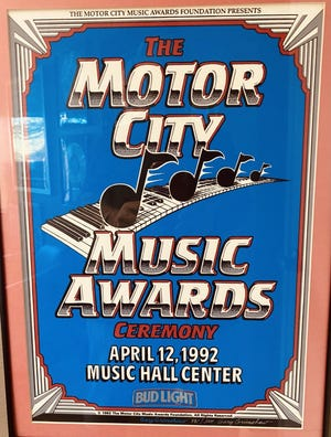 The official poster for the inaugural Motor City Music Awards held at Music Hall in 1992.