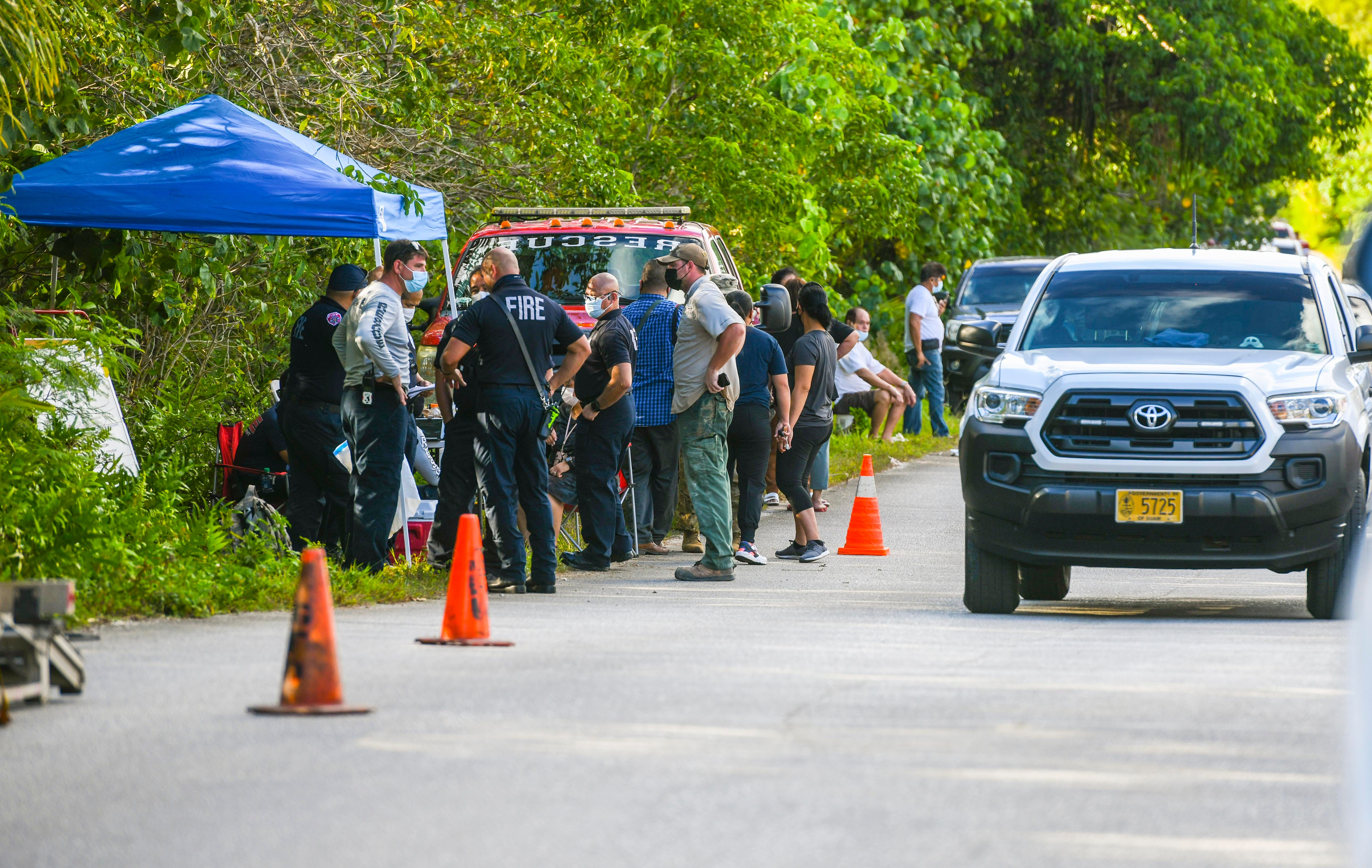 Family and friends of Fernando Canlas gather with Guam Police and Fire Department personnel, Guam National Guard volunteers, Yigo Mayor's Office staff and others, along Chalan Josefan Felix Gallo during a search for the man in Yigo on Thursday, April 8, 2021. Canlas, 71, who has dementia was reported missing earlier in the day by family members, according to Cherika Chargualaf, GFD acting spokesperson.