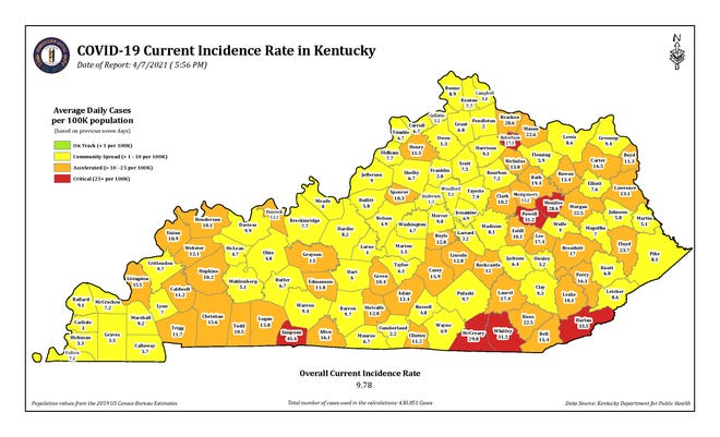 """The Kentucky Department for Public Health's April 7, 2021, map shows that Henderson, Union and Webster counties have moved to the """"orange"""" or accelerated level."""