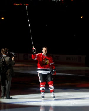 Nov 18, 2018; Chicago, IL, USA; Cancer survivor and former NHL player Eddie Olczyk is honored by the Chicago Blackhawks with One More Shift before the game between the Chicago Blackhawks and the Minnesota Wild at United Center. Mandatory Credit: Jon Durr-USA TODAY Sports