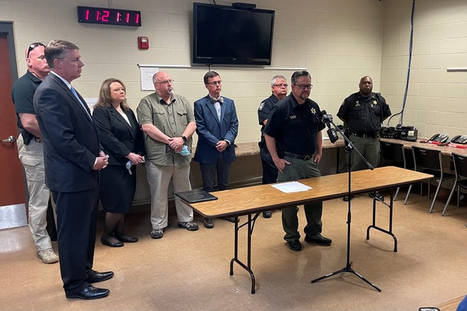 Henderson County Sheriff Brian Duke discusses Operation Red Ice at a press conference along with District Attorney Jody Pickens and other law enforcement officials on Wednesday.