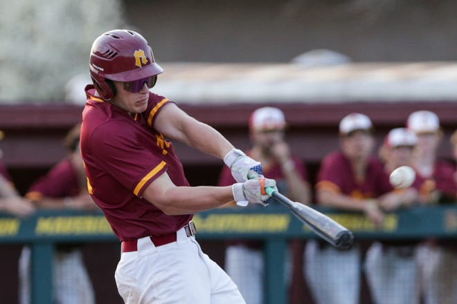 McCutcheon's Brody Fine (32) connects during the fifth inning of an IHSAA baseball game, Wednesday, April 7, 2021 in Lafayette.