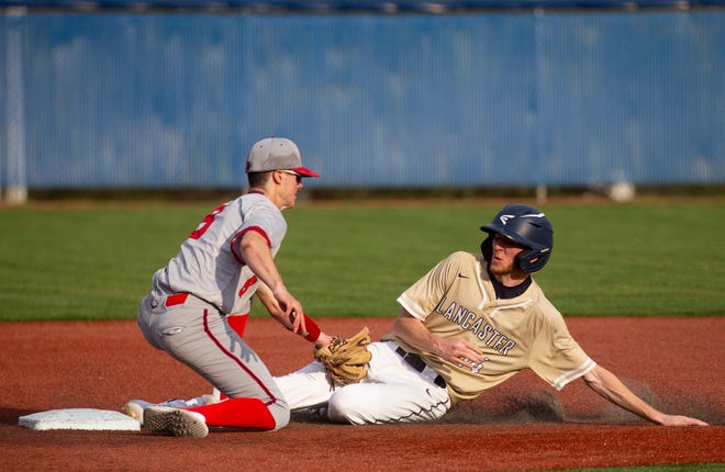 Lancaster's Keaton Jacobs tries to slide into second base against Thomas Worthington during the Gales' 5-0 win at Beavers Field on Wednesday.