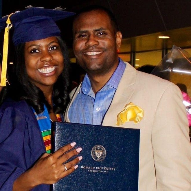 Ceasar Stinson is shown with his daughter, Cearra Stinson. Ceasar Stinson was killed in a car crash in downtown Milwaukee on Jan. 25, 2020. A sheriff's deputy was charged with homicide by negligent operation of a vehicle in connection with the accident. Joel Streicher resigned from the Sheriff's Office in October and pleaded guilty in January.
