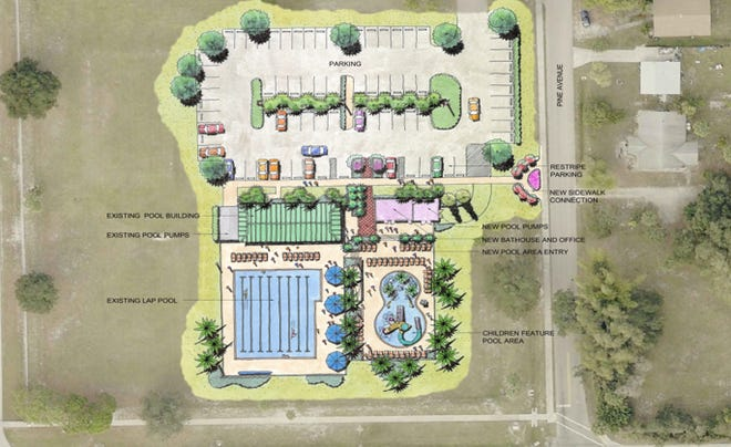 Concept design of a renovated Bonita Springs Community Pool, including new children's pool and family restrooms.