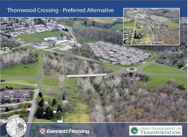 """An illustration of the Newark """"Preferred Alternative"""" plan for a new Thornwood bridge and roundabout."""