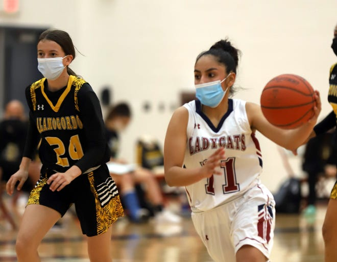 Senior guard Jasmine Lopez (11) was the lone Lady 'Cat in double figures with 11 points in Tuesday's 50-35 loss to the Alamogordo High Tigers.