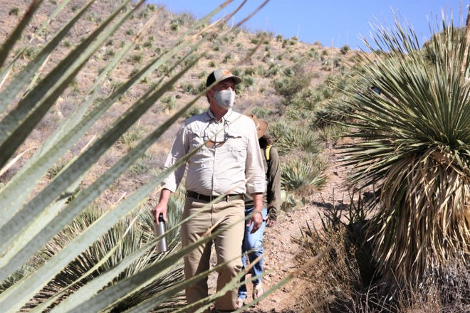 U.S. Sen. Martin Heinrich, D-N.M., hikes on the Achenbach Canyon Trail in Las Cruces, N.M. on Wednesday, April 7, 2021.