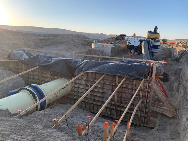 Work continues on a section of the San Juan Lateral of the Navajo-Gallup Water Supply Project on March 30.