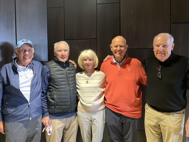 Bill Allen, Ron Snow, Linda Pike, Pat Mulcahy and Jack Higgins were among the attendees at the Bighorn Golf Club I Like Pike March 2021 Invitational.