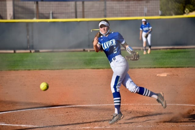 Xavier Prep softball's Riley Flynn pitching in the circle during an away game in the 2021 season.