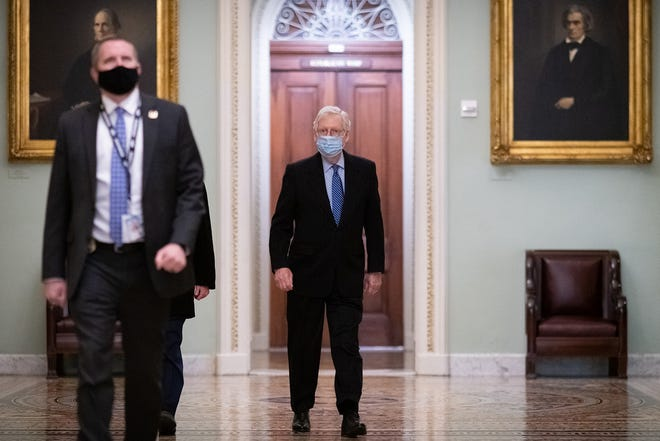 Sen. Mitch McConnell, R-Ky., the Senate minority leader, arrives at the U.S. Capitol, in Washington, D.C., on March 16, 2021. (Graeme Sloan/Sipa USA/TNS)