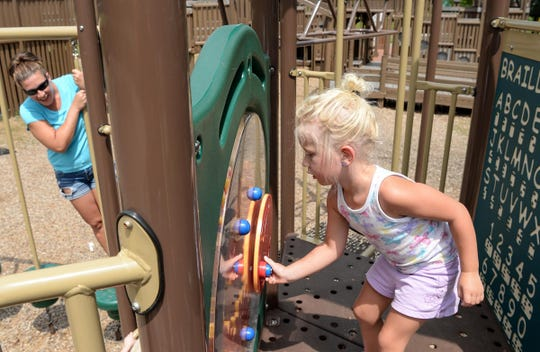 Lillian Wiley, right, plays near her mother Lara Wiley at KidVenture in Anderson
