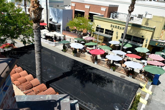 Outdoor dining areas have become prevalent along Main Street in Downtown Ventura as portions of Main Street remain closed through January 2022.