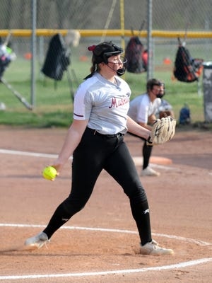 Sydney Marshall throws a pitch during John Glenn's 8-2 win against host Tri-Valley on April 6 at Kenny Wolford Park. Marshall pitched a complete game to get the win.