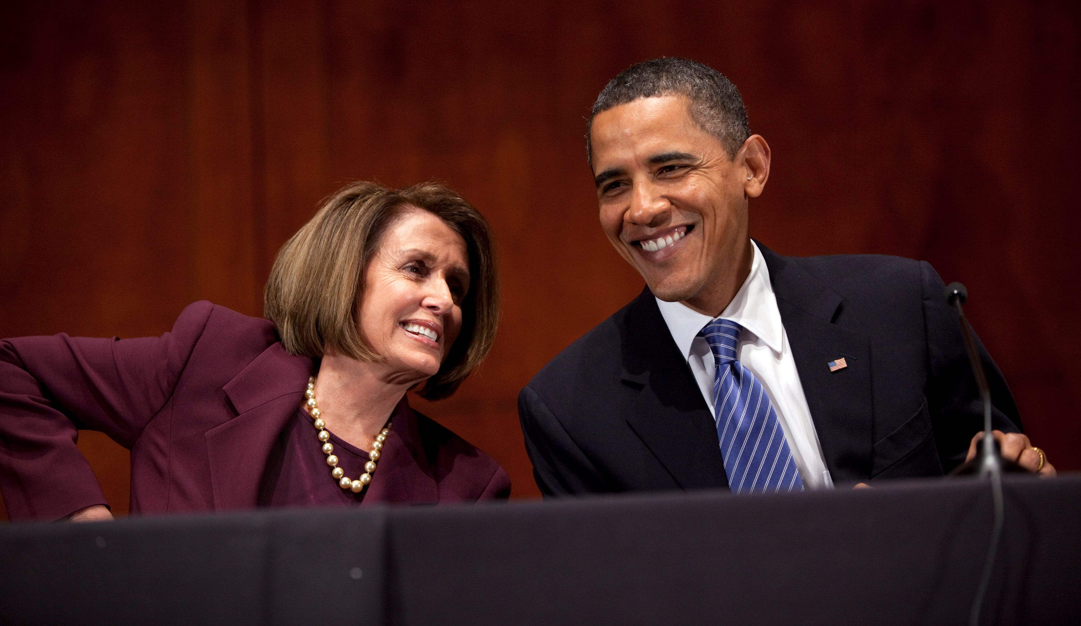 President Barack Obama, right, talks with House Speaker Nancy Pelosi, D-Calif., during the House Democratic Caucus retreat at the U.S. Capitol on Thursday, Jan. 14, 2010, in Washington.
