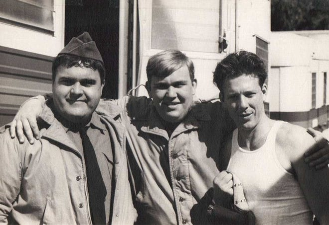 "(L-R) Walter Olkewicz, John Candy and Mickey Rourke on the set of ""1941."""