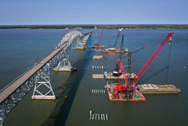 NEWBURG, MD - APRIL 8:  In an aerial view, construction continues on a new $463 million Nice/Middleton Bridge on April 8, 2021 in Newburg, Maryland. The bridge will replace the current Governor Harry W. Nice Memorial Bridge, which links Newburg, Maryland to Dahlgren, Virginia on U.S. Route 301 across the Potomac River.