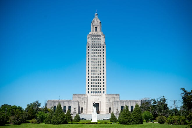 The Louisiana State Capitol in Baton Rouge, LA.  Thursday, April 8, 2021.