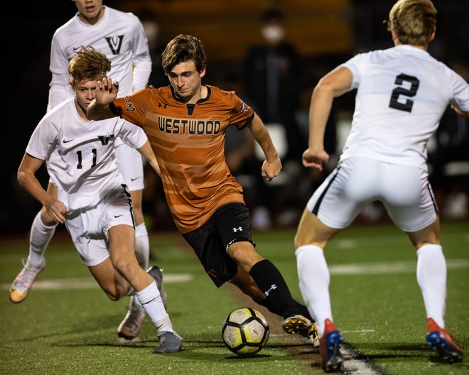 """Westwood striker Pol Marza, playing against Vandegrift in March, said """"playing with both feet"""" is the most difficult part of the game. His favorite league is Spain's La Liga."""