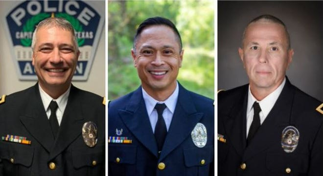 From left, Scott Perry, Jerry Bauzon and James Mason were recently promoted to the rank of assistant chief at the Austin Police Department. Bauzon will be the city's first Asian American police officer to hold the title.