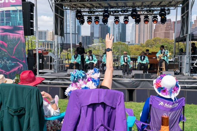 The Blind Boys of Alabama, along with Ray Prim, perform during the Long Live Music socially distanced concert event hosted by Luck Reunion and The Long Center on April 4. The Long Center is among several venues applying for aid through a new coronavirus relief program. The program was supposed to begin accepting grant applications Thursday, but the website crashed.
