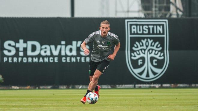 Austin FC midfielder Alex Ring turns upfield during a training session April 8.