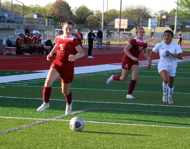 Ardmore's Madison Chavez chases down a ball on Thursday. The sophomore scored three goals in a 4-1 victory over Duncan.