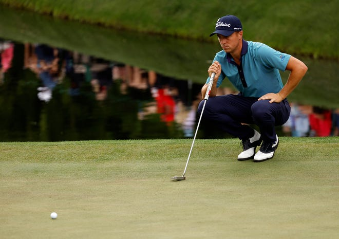 Justin Thomas had a bogey-free round going until a three-putt on the 18th hole Friday, but he's still only three shots off the lead halfway through the Masters.
