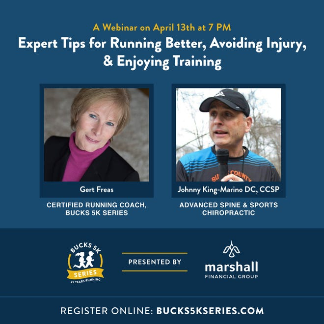 """The Bucks 5K Series and Marshall Financial Group will present a webinar 7 p.m. April 13 titled, """"Expert Tips for Running Better, Avoiding Injury and Enjoying Training,"""" a free virtual event that marks the 25th anniversary of the Bucks 5K Series."""