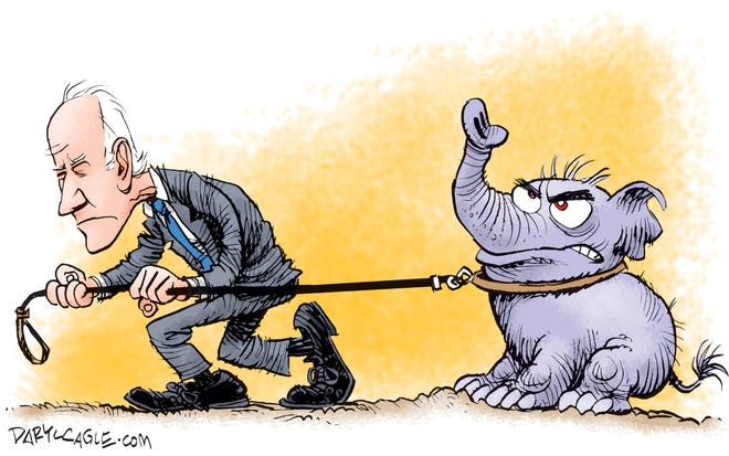 Biden Drags the GOP Along cartoon by Daryl Cagle