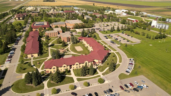 Aerial view of UMN Crookston campus looking north