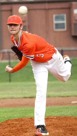 Meadowbrook's Austin Fox (3) pitches during the baseball game against Sheridan at Meadowbrook High School Thursday evening.