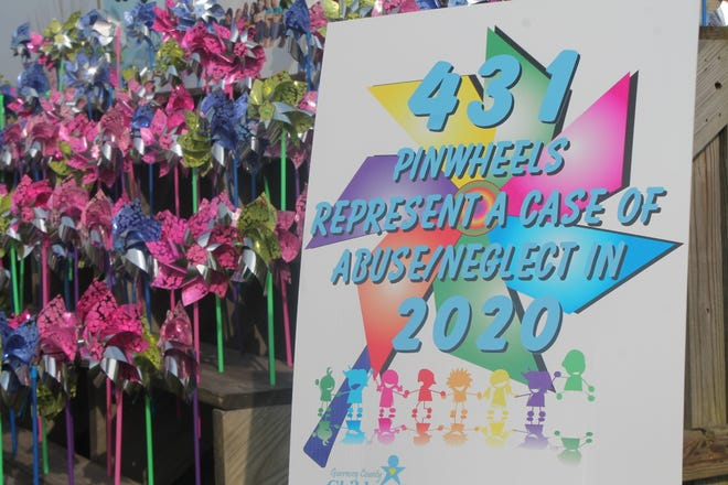 The pinwheels are displayed annually during the month of April to raise awareness duringChild Abuse Prevention Month.