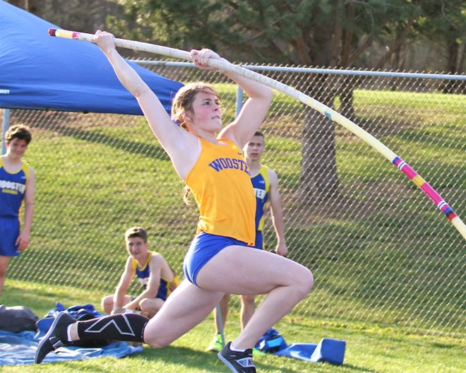 Wooster's Cassidy Brown takes off during a meet early in the season. Brown is one of the top pole vaulters in the area.