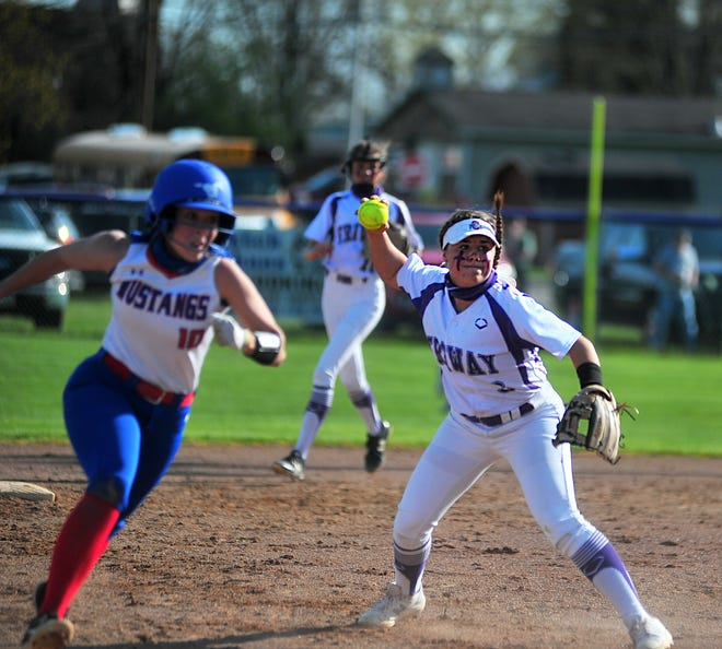 Triway's shortstop Hailey Massaro throws to third to get Tuslaw's Nicole Fath out.