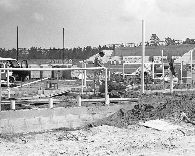 Construction on the Flagler Palm Coast High School stadium continues in September 1978.