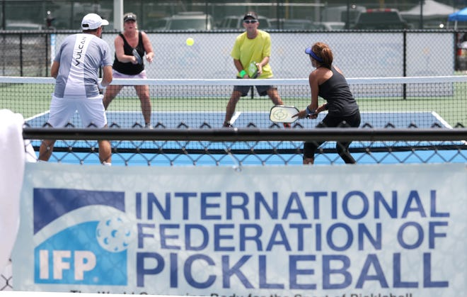 Pickleball action, Friday April 9, 2021 during the Bainbridge Cup 2021 the International Federation of Pickleball Tournament at the Pictona pickleball complex in Holly Hill.