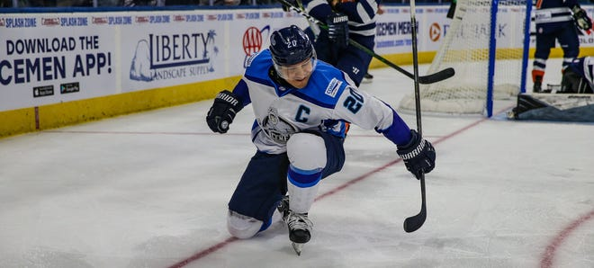 Jacksonville Icemen forward Wacey Rabbit (20) celebrates a goal against Greenville.