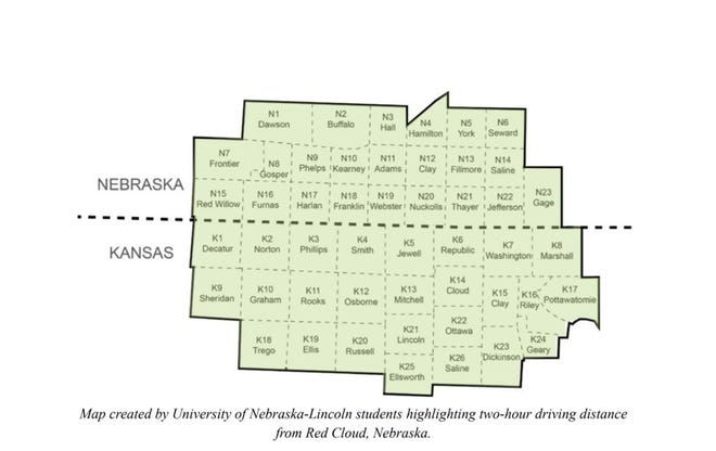 Map of proposed Kansas-Nebr. Heritage Area