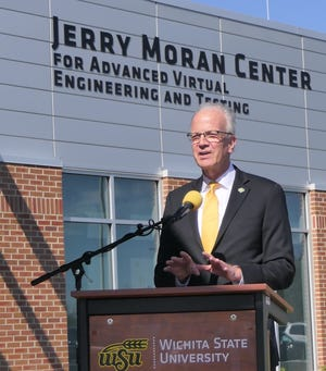Jerry Moran speaks on April 8, 2021 at Wichita State University's Advanced Center for Virtual Engineering and Testing, which is named after him.
