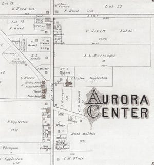 A map of Aurora Center from the 1878 Portage County Atlas.