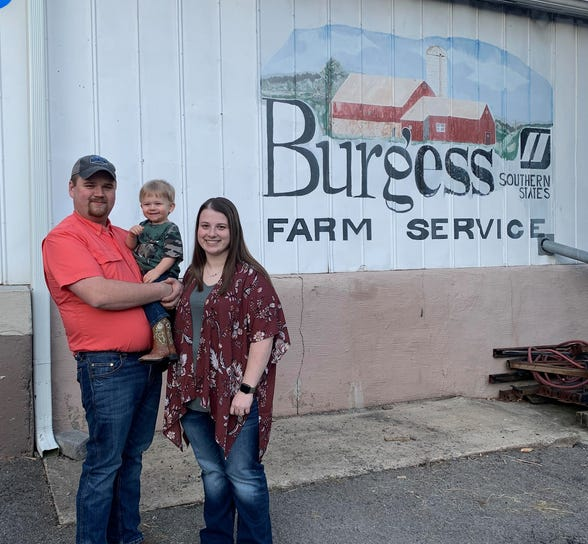 Tim and Whitney Nester, with son Ryder, have purchased Burgess Farm Service and plan to offer the same level of commitment to their customers that the Burgess family maintained for years.