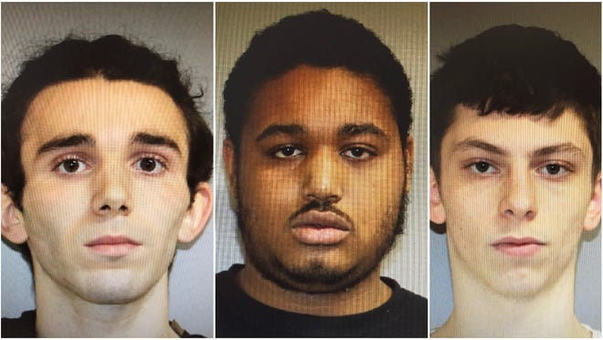 From left to right: Anthony DeJesus, 18, of Brockton, Michael Cole, 19, of Waltham and Myles Morales, 18, of Weymouth.