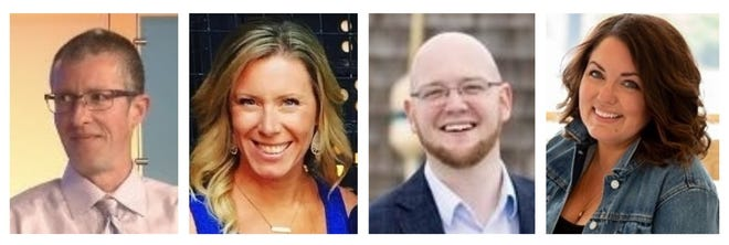 Eric Kelley, Ashleigh MacKinnon, Sean Costello and Kendra Stetson Campbell are running for the Marshfield School Committee.