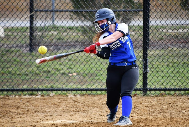 Oyster River senior Hailey Davis drives the ball during batting practice earlier this week in Durham. The Bobcats head into the 2021 softball season as one of the favorites in Division II.